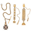 Timepieces:Watch Chains & Fobs, Three Gold Filled Chains & Watch Fobs. ... (Total: 3 Items)