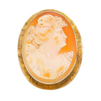 Shell Cameo, Gold Pendant-Brooch