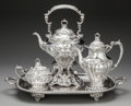 Silver & Vertu:Hollowware, A Three Piece Gorham Chantilly Pattern Silver Tea Service with Silver-Plated Tray, Providence, Rhode Island, des... (Total: 4 Items)