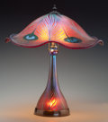 Art Glass:Other , A Charles Lotton Iridescent Ruby and Gold Glass PeacockTable Lamp, Crete, Illinois, circa 1993. Marks: Charle...(Total: 2 Items)