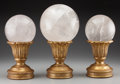 Decorative Arts, Continental:Other , Three Rock Crystal Spheres on Giltwood Stands, 20th century. 14-1/2inches high (36.8 cm) (tallest). ... (Total: 3 Items)