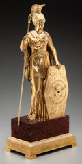 Timepieces:Clocks, A Fine French Empire Gilt Bronze Figural Mantel Clock:Athena, circa 1850. 24 inches high x 10-3/4 inches wide x...