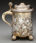 Paintings, A German Partial Gilt Silver Hunting Stein, late 19th century. Marks: 925, (crescent, crown, effaced mark). 10-1/8 inche...