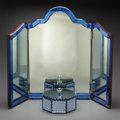 Decorative Arts, Continental:Other , A Continental Glass Tri-Fold Mirror and an Associated Covered Box,late 19th century. 24 inches high x 32-1/2 inches wide (6...(Total: 4 Items)