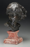 Sculpture, Continental School (19th Century). Youth. Bronze with brown patina. 15 inches (38.1 cm) high on a 6-1/2 inches (16.5 cm)...