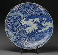Asian:Japanese, A Large Japanese Blue and White Imari Porcelain Chop Plate withStand, 19th century. Marks: (6-character mark). 4-1/2 inches...