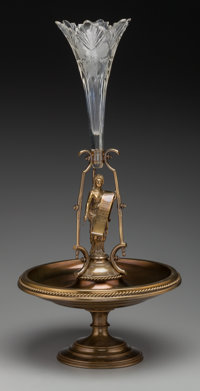 A German Lacquered Brass and Cut-Glass Figural Centerpiece, 19th century 27 inches high (68.6 cm)