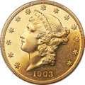 Proof Liberty Double Eagles, 1903 $20 PR58 PCGS. CAC....