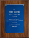 Baseball Collectibles:Others, 1970 Bobby Murcer Most Popular Yankee Award from The Bobby MurcerCollection. ...