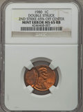 Errors, 1980 1C Lincoln Cent -- Double Struck, Second Strike 65% Off Center -- MS65 Red and Brown NGC....