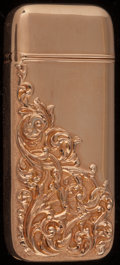 Silver Smalls:Match Safes, An American 14K Gold Match Safe, circa 1900. Marks: 14.2-1/4 inches high (5.7 cm). 0.72 troy ounce. FROM THE ESTATE O...