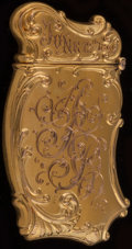 Silver Smalls:Match Safes, A Fairchild 14K Gold Match Safe, New York, New York, circa 1890.Marks: 14K-F, PAT. APD. FOR. 2-1/2 inches high (6.4 cm)...