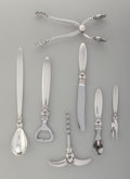 Silver Flatware, Continental:Flatware, A Cased Georg Jensen Cactus Pattern Silver Cocktail Set,designed 1930. Marks: (Georg Jensen), STERLING, DENMA... (Total:7 Items)