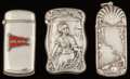 Silver Smalls:Match Safes, Three American Silver and Enameled Sea Motif Match Safes, circa1900. Marks: STERLING-A; C.B. & H, STERLING;(S-shield),... (Total: 3 Items)