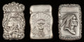 Silver Smalls:Match Safes, Three American Silver Native American Motif Match Safes, circa1900. Marks: STERLING. 2-1/2 inches high (6.4 cm) (larges...(Total: 3 Items)