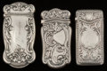 Silver Smalls:Match Safes, Three Gorham Silver Match Safes, Providence, Rhode Island,1886-1900. Marks: (lion-anchor-G), STERLING, (date mark),B... (Total: 3 Items)