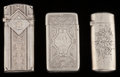 Silver Smalls:Match Safes, Three Gorham Silver Match Safes, Providence, Rhode Island, circa1877-1886. Marks: (lion-anchor-G), STERLING, 166, N; (d...(Total: 3 Items)