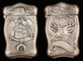 Silver Smalls:Match Safes, Two Webster Silver Lodge Motif Match Safes, North Attleboro,Massachusetts, circa 1900. Marks: WCo. (with arrow),STER... (Total: 2 Items)