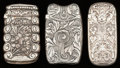 Silver Smalls:Match Safes, Three Gorham Silver Match Safes, Providence, Rhode Island, circa1888-1889. Marks: (lion-anchor-G), STERLING, (date mark...(Total: 3 Items)