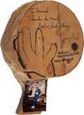 Basketball Collectibles:Others, 1987 Larry Bird Signed Wood Sculpture & Hand Drawing from Armand LaMontagne Collection. ...
