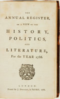 Books:World History, [World History]. The Annual Register, or A View of the History, Politics, and Literature, for the Year 1786. London:...