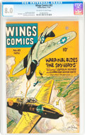 Golden Age (1938-1955):War, Wings Comics #63 (Fiction House, 1945) CGC VF 8.0 Off-white towhite pages....