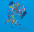 Fine Art - Painting, American:Contemporary   (1950 to present)  , LeRoy Neiman (American, 1921-2012). Blue Boxing(double-sided work), circa 1990. Pastel and marker on blue paper.11 x 1...