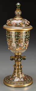 Glass, A Moser Partial Gilt and Enameled Amber Glass Pokal, late 19th century. 15 inches high (38.1 cm). PROPERTY FROM THE COLLEC...