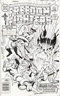 Original Comic Art:Covers, Rich Buckler and Vince Colletta Freedom Fighters #6 CoverOriginal Art (DC, 1977)....