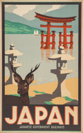 Prints, 20th Century School . Japan Travel Poster. Color poster. 40 x 25 inches (101.6 x 63.5 cm) (sheet). ...