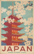 Prints, 20th Century School. Japan Travel Poster. Color poster. 40 x 25 inches (101.6 x 63.5 cm) (sheet). ...