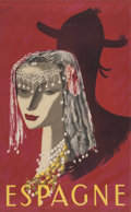 Prints, 20th Century School . Espagne Travel Poster. Lithograph in color on paper. 40 x 25 inches (101.6 x 63.5 cm) (sheet). ...