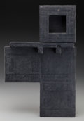 Fine Art - Painting, American:Contemporary   (1950 to present)  , Joe Guy (American, 20th/21st Century). Shelf with BlackMirror, 1986. Graphite and paper on wood, in two pieces. 13 x12...