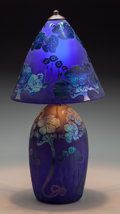 Lighting:Lamps, A Schneider-Style Cobalt and Iridescent Glass Lamp, 20th century. 18 inches high (45.7 cm). ... (Total: 2 Items)