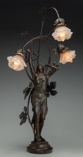 Decorative Arts, French:Lamps & Lighting, A Bronzed Metal Figural Lamp after Henri Godet: Le Reveil,20th century. 32-1/2 inches high (82.6 cm). ...