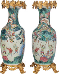 A Pair of Chinese Famille Rose Porcelain Vases with Gilt Bronze Mounts 29-3/4 inches high (75.6 cm)