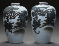 A Pair of Japanese Porcelain Vases Marks: (one-character mark) 14-1/4 inches high (36.2 cm)