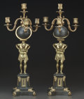 Decorative Arts, Continental:Lamps & Lighting, A Pair of Empire-Style Gilt and Patinated Bronze Four-LightCandelabra, early 20th century. 25-3/4 inches high (65.4 cm). ...(Total: 2 Items)