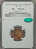 Proof Indian Cents, 1863 1C PR64+ Cameo NGC. CAC....