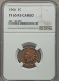 Proof Indian Cents, 1866 1C Cameo PR65 Red and Brown NGC....
