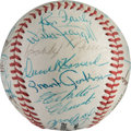 Baseball Collectibles:Balls, 1960's Baseball Greats Multi Signed Baseball with Roberto Clemente from The Bobby Murcer Collection. ...