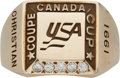 Hockey Collectibles:Others, 1991 Canada Cup USA Hockey Ring Presented to Dave Christian....