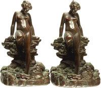 [Bookends]. Pair of Matching Bookends Depicting Female Nude Bather. Signed KBW, Circa 1920