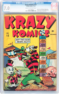 Golden Age (1938-1955):Funny Animal, Krazy Komics #12 (Timely, 1943) CGC FN/VF 7.0 Cream to off-whitepages....