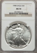 Modern Bullion Coins, 1988 $1 Silver Eagle MS70 NGC....