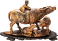 Asian:Chinese, A Chinese Carved Soapstone Figural Group of A Child with WaterBuffalo. 10-3/4 inches long (27.3 cm). ...