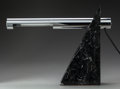 Decorative Arts, American:Lamps & Lighting, A Robert Sonneman Black Marble and Chrome Desk Lamp for GeorgeKovacs, circa 1980, . 13-3/4 inches high x 18 inches wide x 2...