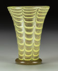 Art Glass:Other , A Venetian Feather-Pulled Aventurine Glass Vase, circa 1930. 5-1/8 inches high (13.0 cm). ...
