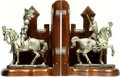 Books:Furniture & Accessories, [Bookends]. Pair of Bookends Depicting Medieval Knights. Unsigned,undated.... (Total: 2 Items)