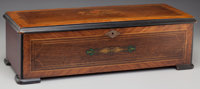 A Tremolo Zither Swiss Marquetry Music Box, late 19th century 6-1/2 inches high x 21-3/4 inches wide x 9 inches d
